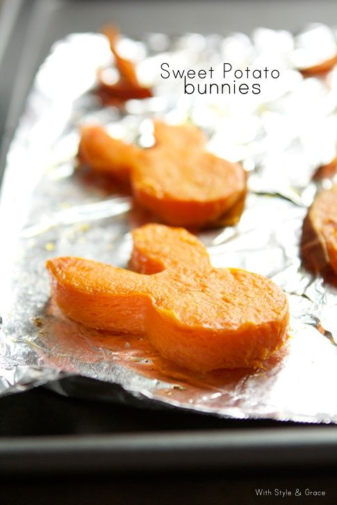 Easter Sweet Potato Bunnies - this has lots of possibilities!  Slice (olive oil S ) & roast about 15 minutes then cut with cookie cutter & continue roasting another 20-30 minutes until soft and beginning to brown.  350 degrees