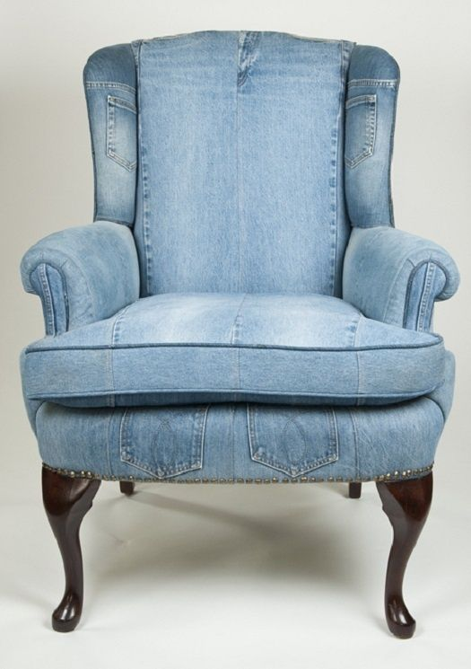 Jeans & Denim: Recycled, Upcycled and Repurposed: Recycled Jeans, Denim Jeans, Blue Jeans, Jeans Recycled, Upholstered Chairs, Denim Quilts, Studios Couch, Recycled Denim, Old Jeans