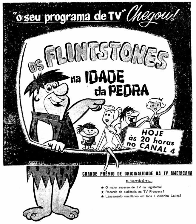 Lançamento do desenho animado 'Os Flintstones' na TV brasileira, nos anos 60.