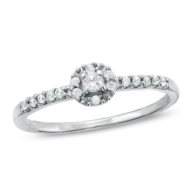 1/6 CT. T.W. Diamond Promise Ring in 10K White Gold with heart cut out the side