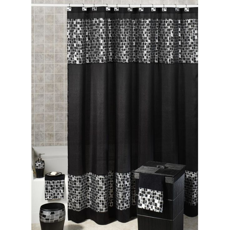 Elegant Purple And Black Shower Curtain