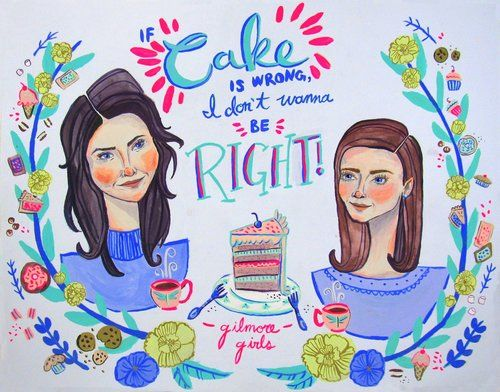 Portraits of Gilmore Girls, Rory and Lorelai, enjoying all their favourite treats! Poptarts, cake and coffee, oh my!