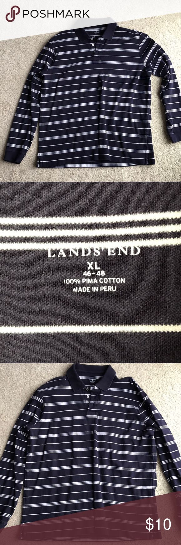 Mens long sleeve polo shirt XL long sleeve polo shirt Lands end XL  navy and white stripe  great condition Lands' End Shirts Polos