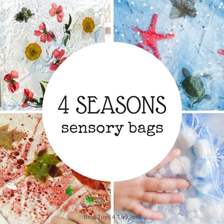No+mess!+Explore+4+seasons+with+these+baby+and+toddler+safe+sensory+bags!+Perferct+sensory+bags+for+winter,+sping,+summer+and+fall+seasons!