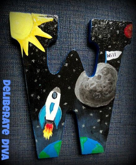 "Outer Space Adventure- Large Letter ""W"" Hand painted rocket ship flying to the moon. Customized for any budding astronaut's room!  by deliberatediva,"
