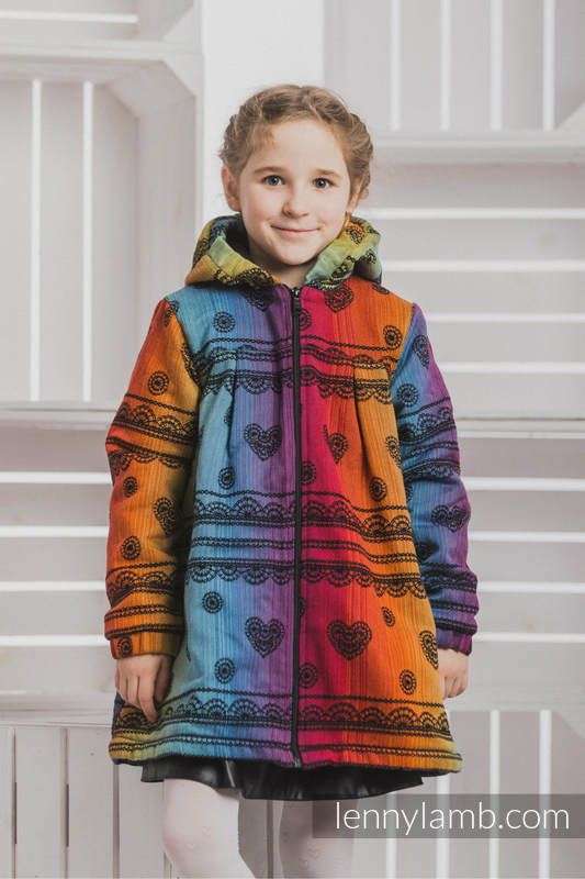 GIRLS COAT - RAINBOW LACE DARK WITH BLACK