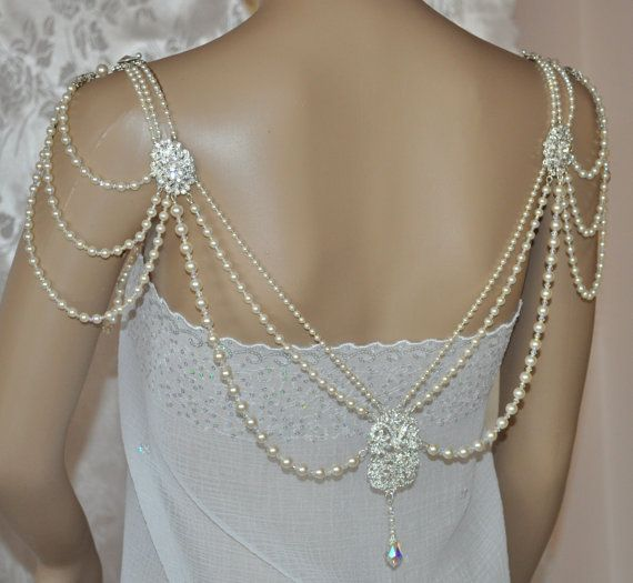 Swarovski Necklace,Back Necklace, back drop,shoulder necklace, bridal, Lt Cream Rose Pearl,Crystal, Teardrops, Back Draping,Wedding Jewelry