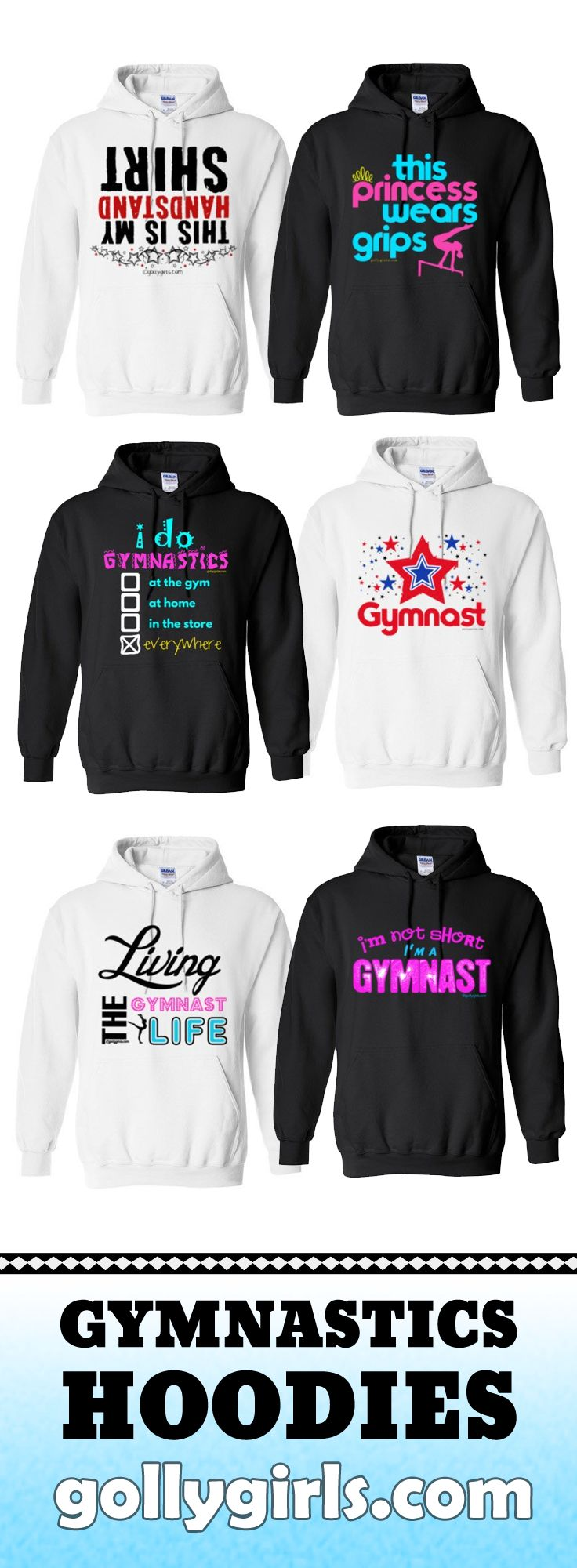 Get warmed up in these awesome gymnastics hoodies EXCLUSIVELY from gollygirls.com  Prices start at $24.99 and there are both youth & adult sizes!