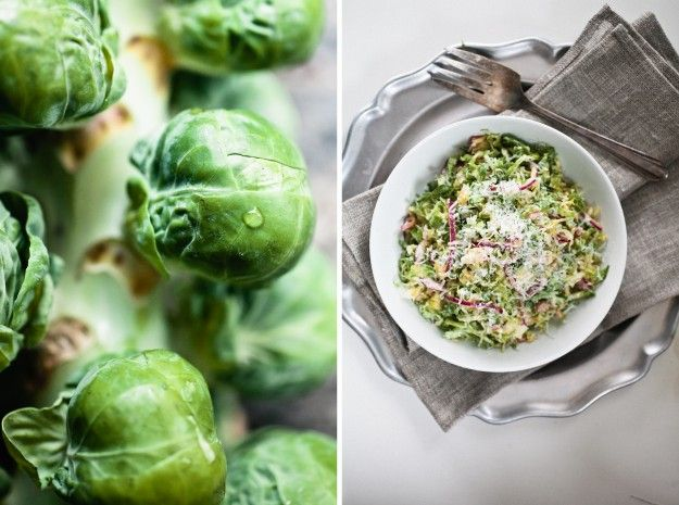 brussels sprouts salad with red onion and pecorino