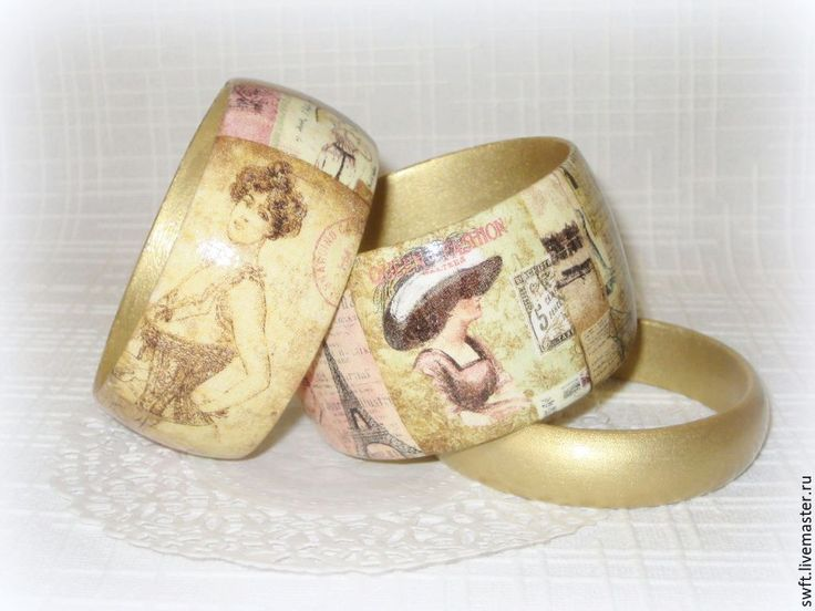 Купить 3 женских браслета из дерева Дамы. Декупаж, золотой винтаж - комплект украшений, Декупаж