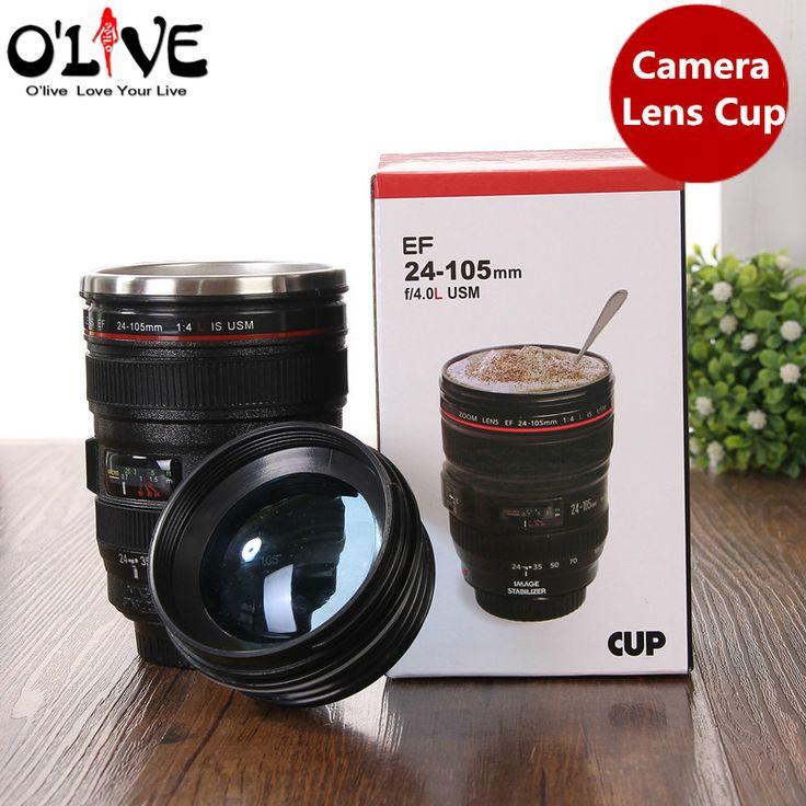 400 ML Stainless Steel Cups Camera Lens Mugs Water Tumbler Tea Cup Keep Travel Coffee Mug Drinkware Leakproof Lid Creative Gift  #Affiliate