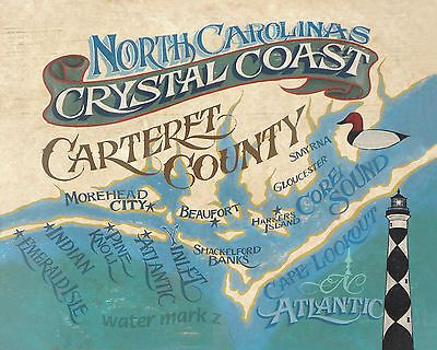 Nc Crystal Coast Retro Style Map Print North Carolina Sign Beach Vintage Art