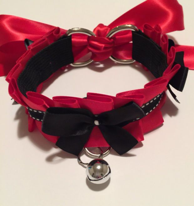 Lipstick Red and Black Kitten Play Collar - BDSM Slave ...