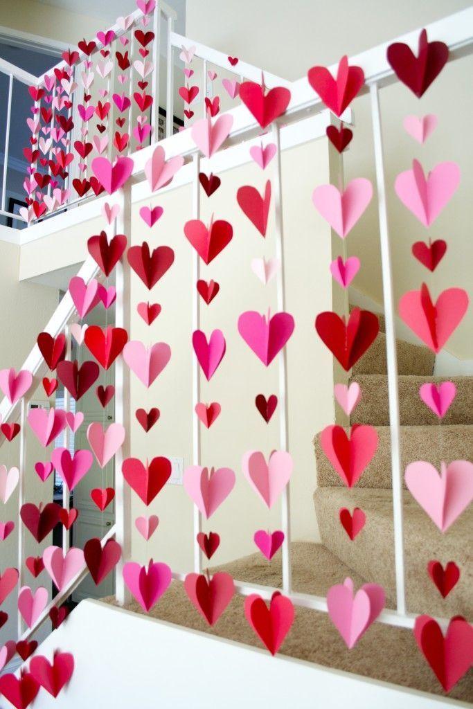 Guirlandas de papel de coração em 3-D – Decorações simples do dia dos namorados DIY   – DIY Dekoration