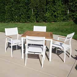 Maxis Dining Groups - Rectangular Teak Dining Table with 6 Dining Chairs - Aluminum Patio Furniture by Maxis. $1799.00. Aluminum Patio Dining Groups - Rectangular Teak Dining Table with 6 Dining Chairs. Current and clean, Maxis offers cutting edge contemporary design for those who desire a minimalistic look for their outdoor space. This simplistic design, with stackable chairs and chaises, is constructed of rustproof aluminum with a finish of glossy white or black and durable w...