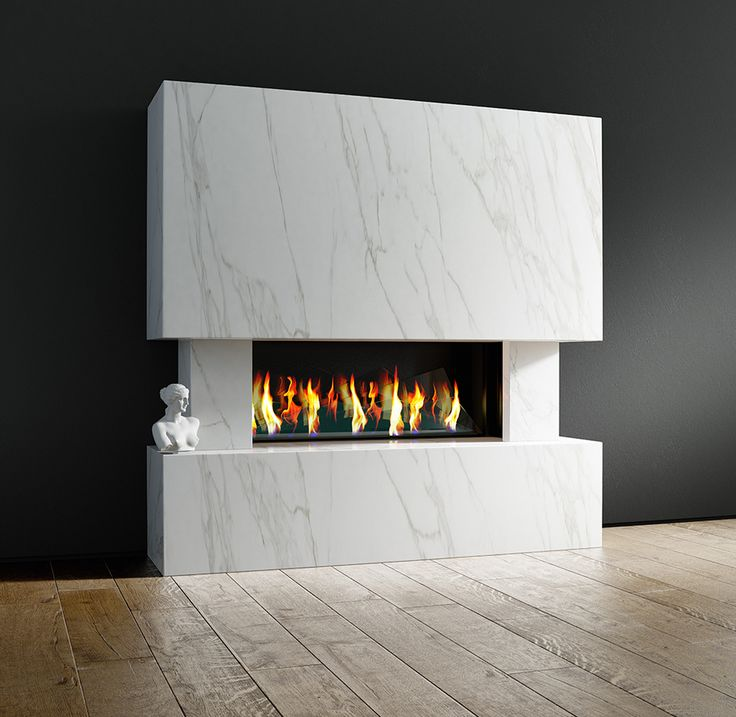 The Vela | J. Rotherham | The beauty of the #Neolith stone is well showcased by this modern Bauhaus design. #moderndesign #British #fireplace