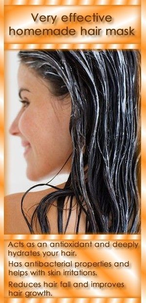 If your hair is dry and prone to tangling, make this simple but very effective hair mask. Necessary ingredients:  - 3 tablespoons olive oil  - 2 tablespoons honey Preparation and use:  Mix 3 tablespoons olive oil and 2 tablespoons of honey, and then heat the mixture.  Apply evenly on dry hair, while the mixture is still hot.  Be careful, don't burn yourself.  Hold it for 40 minutes. by PearForTheTeacher