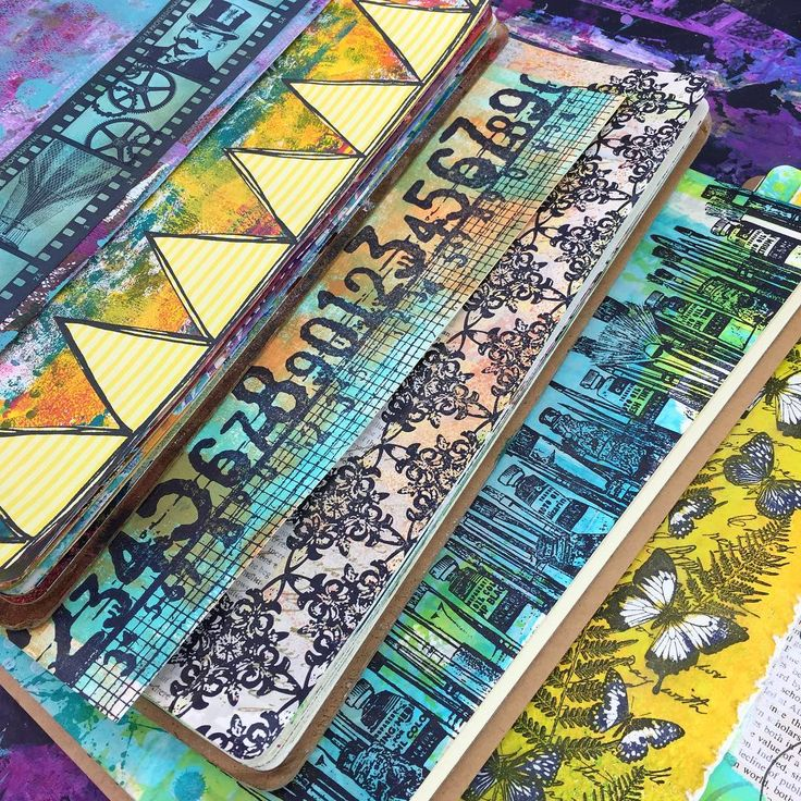 Art journals by Rachel Greig using Darkroom Door Border Stamps!