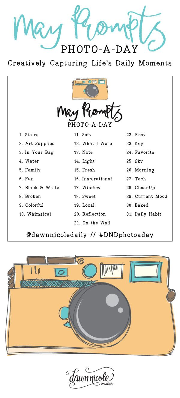 May Photo a Day Challenge Prompts | DawnNicoleDesigns.com