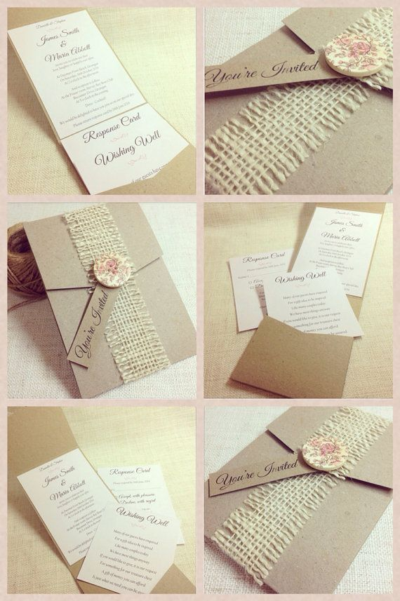Rustic Wedding Invitation sample button by StunningStationery