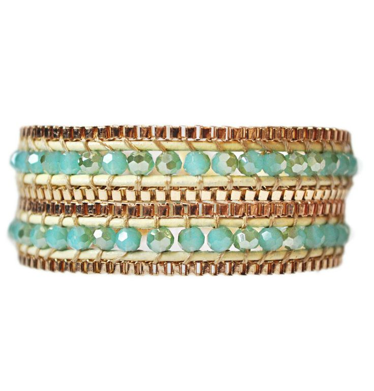 Boho Sunset Double Wrap Leather Bracelet. Such a sexy & summery feel in this sea breeze blue & gold: $34. #sexy #gold #summer #emmajaxon #sale #style