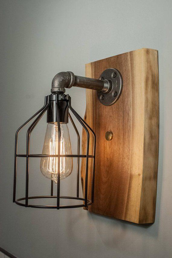 Edison Wall Sconce Steampunk Light Fixture Featuring Walnut Wood