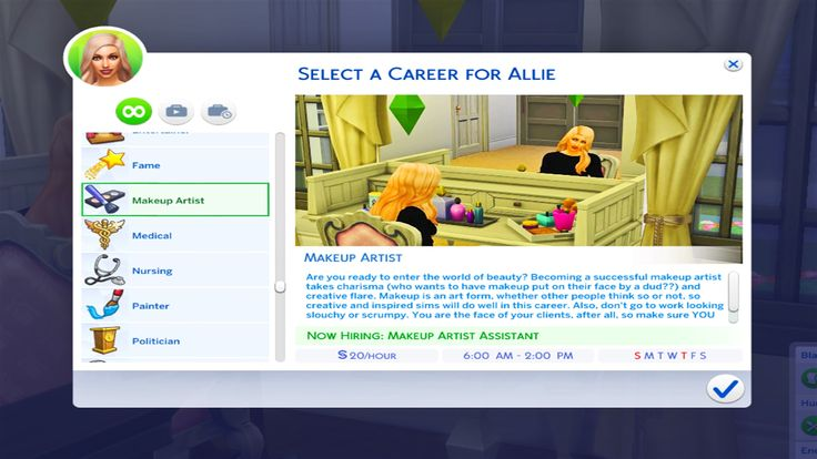 Mod The Sims – Makeup Artist Career-10 levels – Sims4
