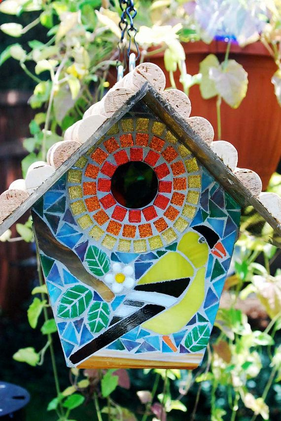 Birdhouse Stained Glass Mosaic Goldfinch