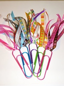 So simple and cute-just Colored Jumbo Paperclips and Ribbon. tie bows with the ribbon to spice your plain paperclips up