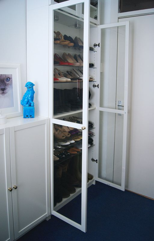 ikea billy book case white and glass shoe closet ikea. Black Bedroom Furniture Sets. Home Design Ideas