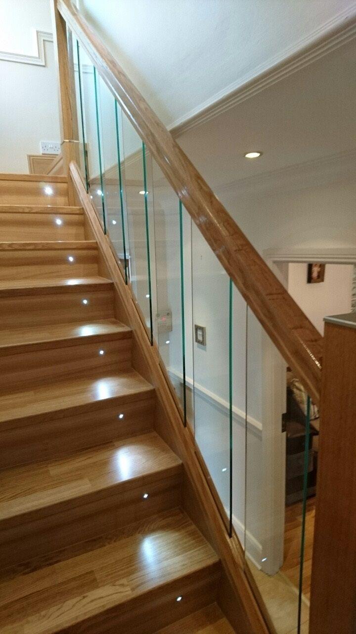 Urbana Glass Range - Modern Staircase with White Oak Plain Square Newels, Urbana Handrail and Baserail.
