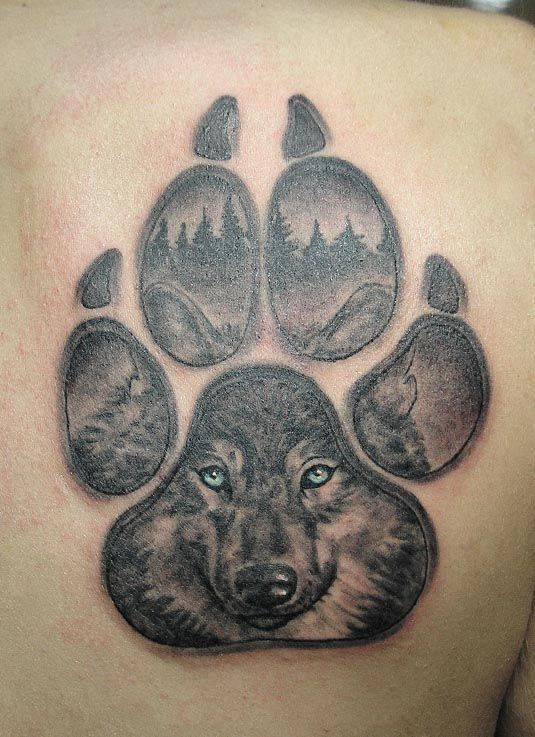 wolf paw print men 3d tattoo meaning wolf paw print men tattoos 3d ...
