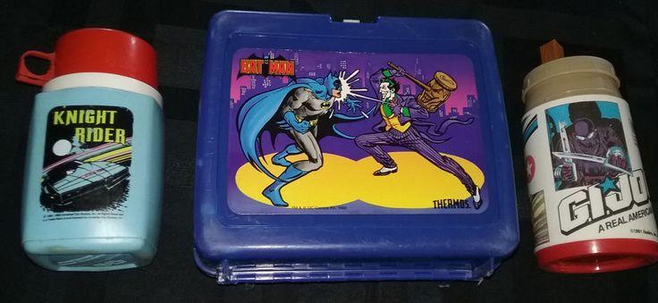 Vintage 1982 Batman Lunch Box 1983 Knight Rider 1991 G.I. JOE Thermos Hasbro Lot #Thermos