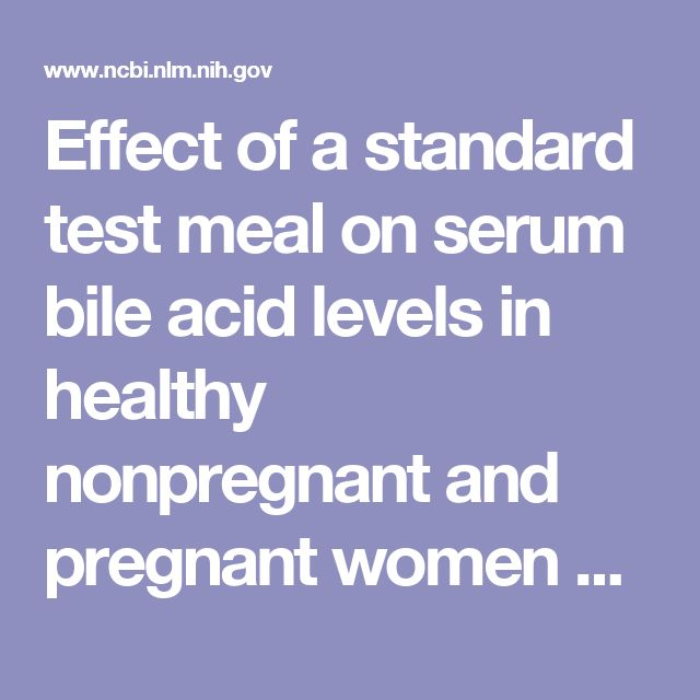 Effect of a standard test meal on serum bile acid levels in healthy nonpregnant and pregnant women and in patients with intrahepatic cholestasis of...  - PubMed - NCBI