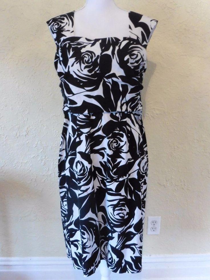 White House Black Market womens sz 12 black white cut out back dress floral EUC #WhiteHouseBlackMarket