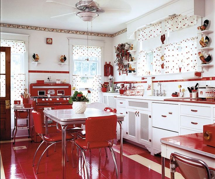 A Mid-Century Kitchen in Red - Old House Restoration, Products