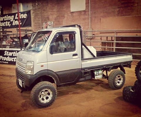 Yes, I would wheel it. In fact, we did wheel in Moab with this rig a few years ago. It did the Fin 'N Things trail well. However, they did have to hold the back end down a couple times. #suzuki #kei #keijidosha #4x4 #4WD #offroad #suzuki #suzukicarry #keitruck #moab #liftedtrucks #subcompactculture  (at Old Spanish Trail Arena)