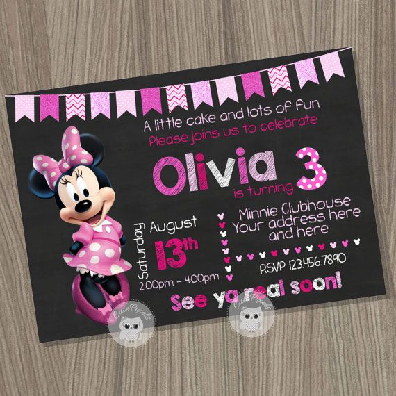 Minnie Mouse Invitation, Minnie Mouse Birthday Invitation, Minnie Mouse Birthday, Minnie Mouse Party, Minnie Mouse, Minnie Mouse Pink