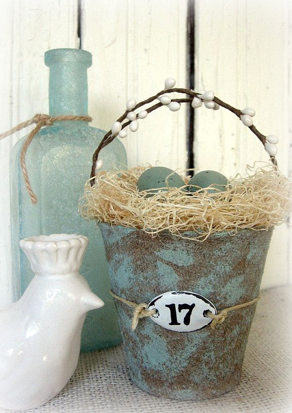 Altered peat pot, cute for table decorations, for bird, owl, or natural themed showers.