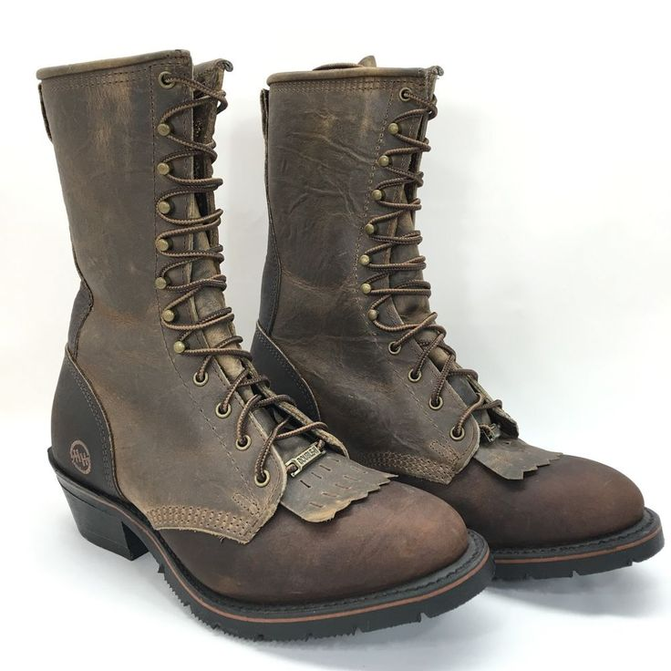Double H Leather Cowboy AG7 Packer Lace Up Roper Work Boots Model 9668 Mens 7 EE | eBay