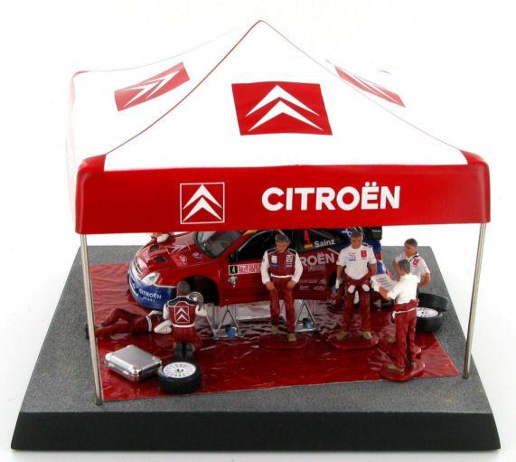 A fine diorama depicting the Sainz - Marti Citroen Xsara WRC at a service stop during the 2004 Rally Monte Carlo.