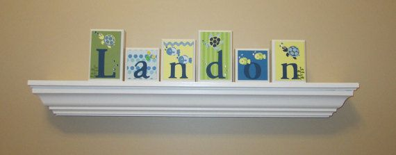Nursery Name Set . Baby Name Letters . Turtle Theme Nursery