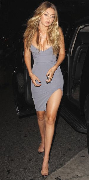 dress slit dress grey gigi hadid summer dress summer outfits bodycon dress shoes grey dress