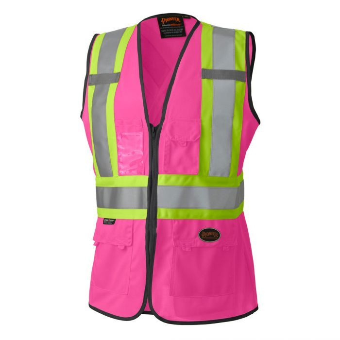 Missing Link Womens Meshed Up Expandable Safety Vest Pink//Fuchsia, X-Large