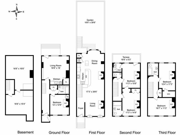 102 best images about townhouse floor plans on pinterest for Brownstone house plans
