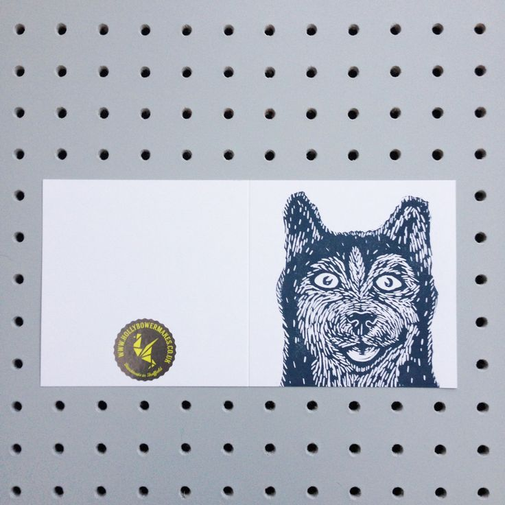 Happy Husky! handprinted greetings card. Birthday. Any occasion Blank inside for your own message. by HollyBowerMakes on Etsy