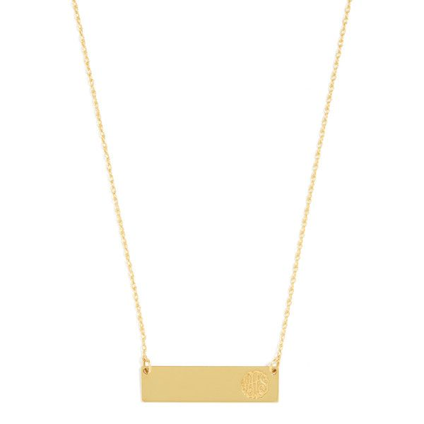 BaubleBar Script Monogram Bar Pendant ($140) ❤ liked on Polyvore featuring jewelry, pendants, pendant jewelry, baublebar jewelry, monogram jewelry, monogram pendant and charm pendant
