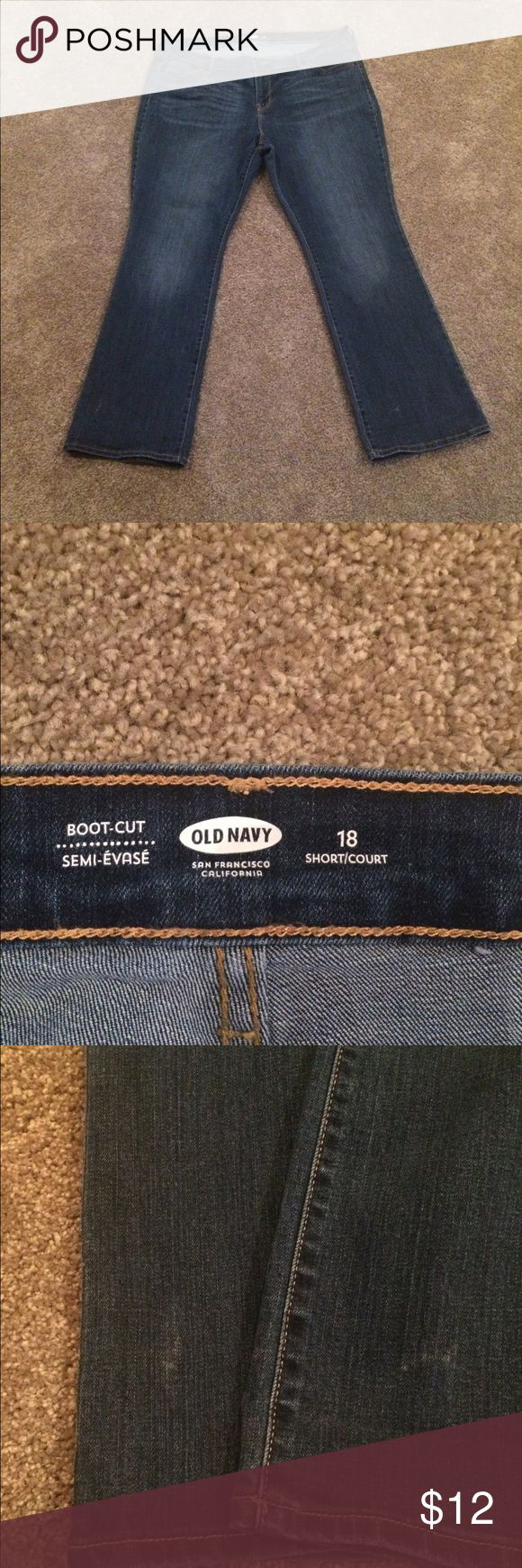 UC Old Navy women's jeans good condition jeans,  size 18 short, 2 blemishes on front legs, no other visible wear to jeans Old Navy Jeans Boot Cut