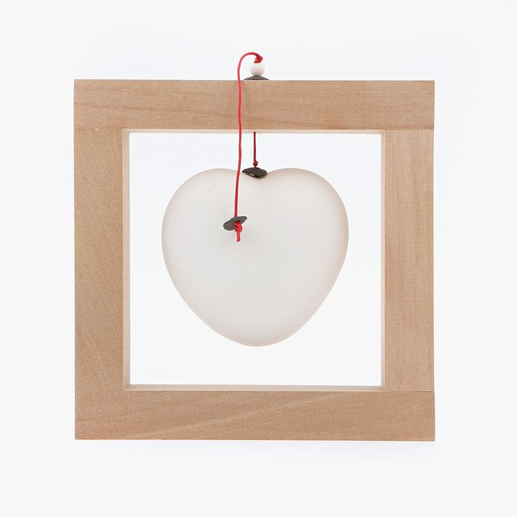 Ceramic Ornament - Heart Frame, White