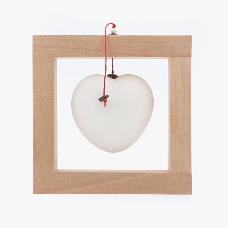 Modern Ceramic Love Heart Ornament Handmade, Wooden Frame Table Decor, White Large